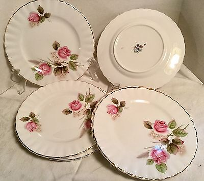 Vintage Royal Imperial Fine Bone China England 6 Small Plates  Pink Rose