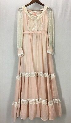 Vintage 70's Pink and Cream Lace Gunne Sax Prairie Maxi Hippie Dress 11