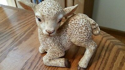 """Signed Mexico 1980 R.S.L. #3488 Cermaic Sitting Lamb - Well Made - 4 1/2"""" Tall"""