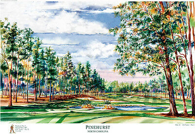 Pinehurst Number 2 Golf Club Art Print Signed and Numbered by Artist
