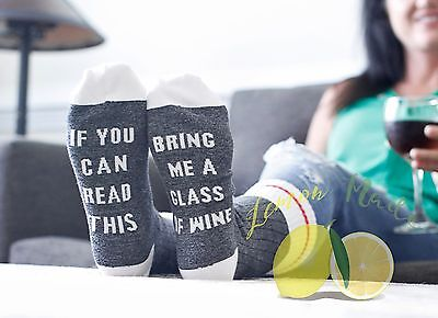 If You Can Read This Bring Me A Glass of Wine socks charcoal gray socks