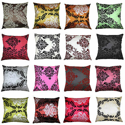 """Set Of 4 Cushion Cover New Flock Damask Luxury Cushion Covers All Colours 18"""""""