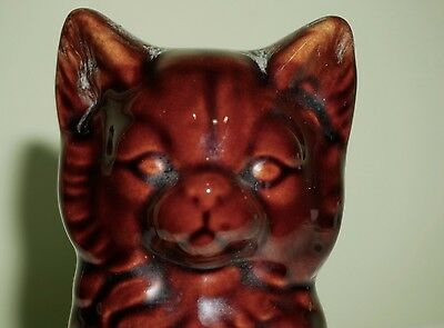 Vintage Cat Money Box Piggy Bank Ceramic Brown Kitten 15 cm heigh