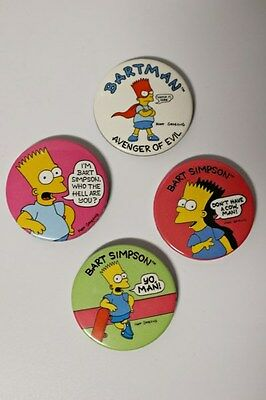 Vintage Bart Simpson The Simpsons Pins Buttons x 4 (1989)