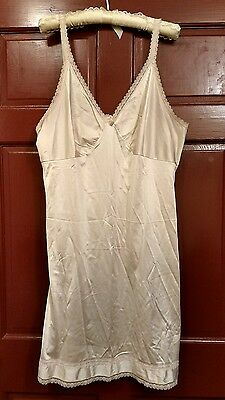 Sears Beige Nylon Full Slip with Lace Trim Size 42