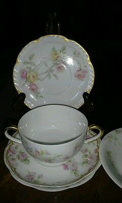 Antique Limoges France lot of 5 dishes 4 Haviland and 1 other, 1 Baltimore rose