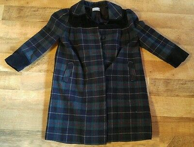 Vintage SAKS FIFTH AVENUE Girls Coat Wool Velvet Trim Size 6X