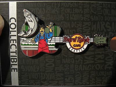 NEW Hard Rock Cafe HRC Logo Guitar / Seattle Fisherman Salmon Fishing