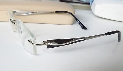 Truth Eyewear Designer Glasses Frames TE02 Rimless Black & Silver Arms with Case