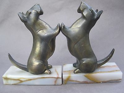 Vintage Scotty Dog Scottish Terrier Bookends Art Deco Metal and Marble