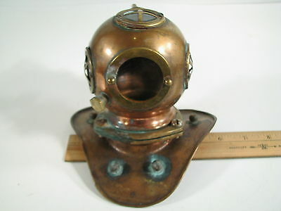 Vintage Miniature Replica Copper And Brass Diving Helmet