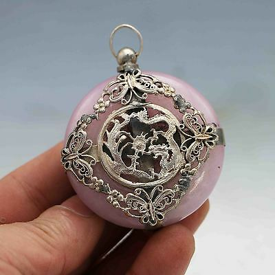 Chinese Collection Silver Jade Hand Made Dragon Phoenix Pink Buttons