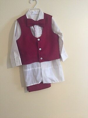 Vintage 1970s Boy's Child's SEARS Polyester Blend Tuxedo Red EASTER 2T FREE SHIP