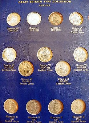 Complete 36 Coin Great Britain 20Th Century Silver Type Set Album Make An Offer!