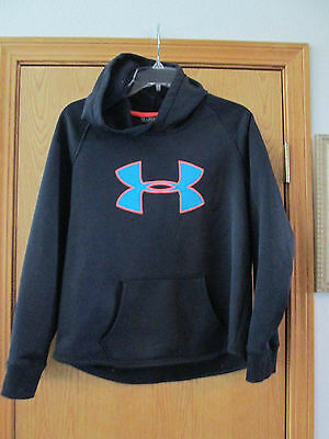 Youth Under Armour Fleece Hooded Sweatshirt, size Youth XL, Black, Storm 1