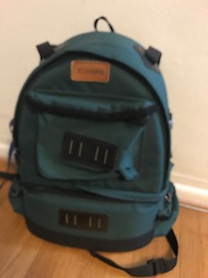 """vintage CANON Padded Camera  Bag, Green Canvas Backpack 17"""" X 12"""" X 7"""""""