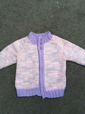 Baby Girls Gorgeous Pink & Purple Hand Knitted Long Sleeve Cardigan Size 000 EUC
