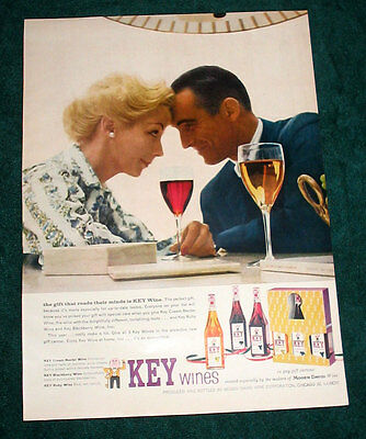 """Key Wine 1-page large print ad 1957 """"reads their minds"""""""