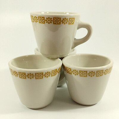 Shenango China Gold Daisy Country Kitchen 4 Vintage Restaurant Ware Coffee Cups