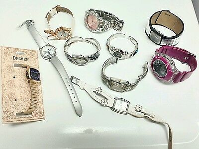 "10 watch lot SOLD ""AS IS"" for WATCH PARTS bands crafts or for REPAIR"