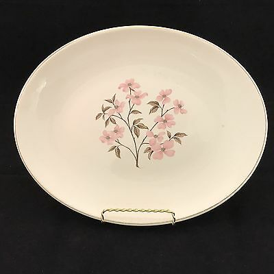 "Knowles Pink Dogwood VTG China Designed By Kalla 12"" Oval Platter MCM"