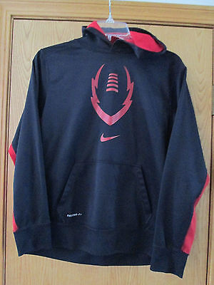 Youth Nike Therma Fit Hooded Sweatshirt, size XL, Black/Red