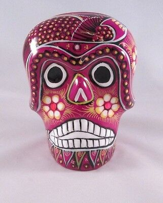 """Day Of The Dead Suger Skull Hand Painted Mexican Pottery 5"""" Napkin Holder #109"""