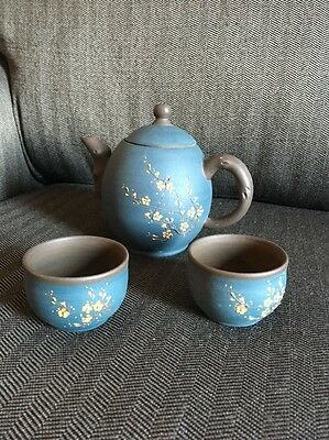 Chinese Yixing Pottery Teapot And Two Cups Terracotta Zisha Marked