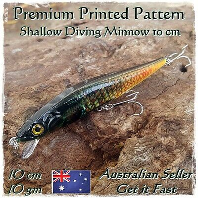 Trout & Redfin Fishing Lure Yellowbelly Bass Cod Perch Bream Diving Minnow 10cm