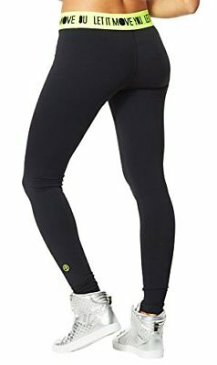 ZUMBA Let It Move You Long Leggings Pants So Bootyful ~Convention Black S M