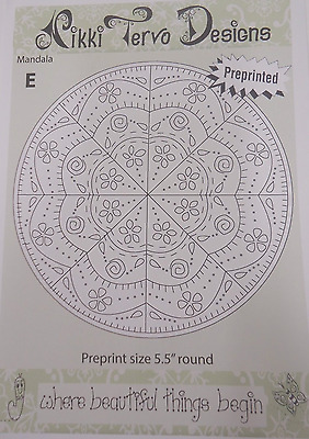 MANDALA E - EMBROIDERY PATTERN  by Nikki Tervo - Includes preprinted fabric