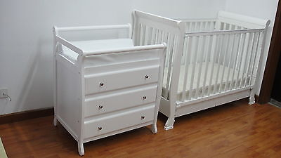 3 in1 Wooden Sleigh Baby Cot with Mattress + 3 Drawer Change Table