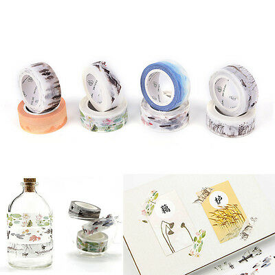 Chinese Style 15mm×7M DIY Paper Sticky Adhesive Sticker Decorative Washi Tape F