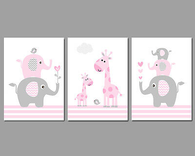 3 Wall Art Nursery Prints Baby Girl Pink & Grey Elephant Stack Giraffes Birds