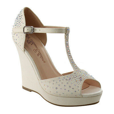 BLOSSOM Women's Sparking Platform Wedge Heel Dress Sandals WHITE Size 7