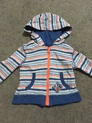 Baby Boys Long Sleeved Hooded Grey Striped Zip Up Jacket Size 00 EUC