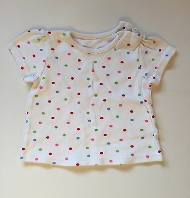 Baby Girl 3-6 Months George White Short Sleeve T-shirt Top With Colour Polkadots
