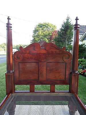 Antique American Empire Flame Mahogany Summer Winter Post Bed Solid Brass Spring