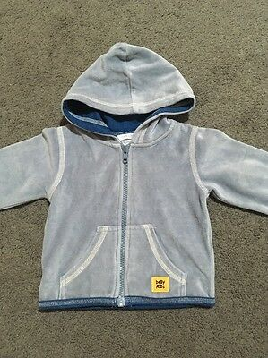 Baby Boys Long Sleeved Blue Hooded Zip Up Jacket Size 00 EUC