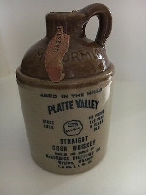 Original McCormick Stoneware Pint Jug Platte Valley Corn Whiskey 1/2 Pint