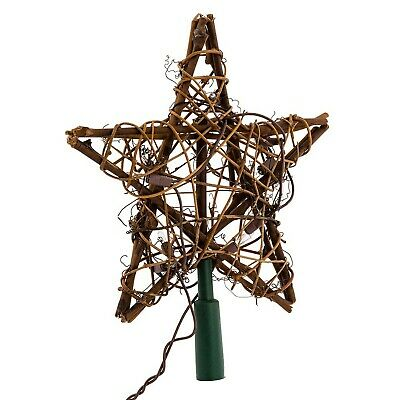 Brand New Kurt Adler 10 Light Indoor Rattan Natural Star Treetop