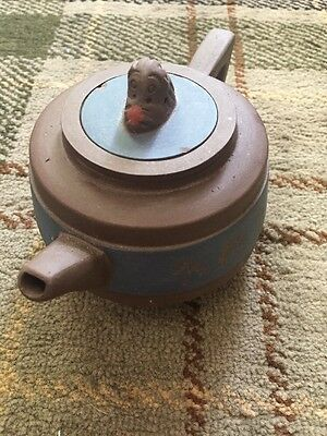 Fabulous Chinese Terracotta Teapot With Internal Strainer And Monkey Lid