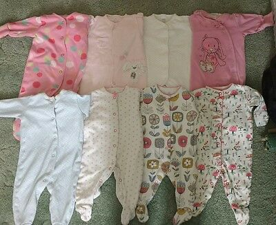 8 X Next Sleepsuits Age 0-3 Months
