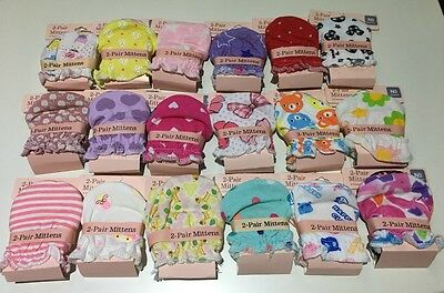 2 Pairs High Quality Baby Newborn Mittens cotton Gloves for Girls