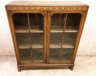 Vintage Glazed Front Oak Bookcase