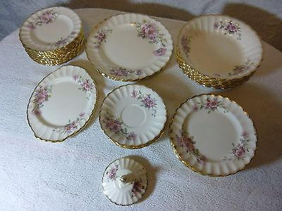 Limoges American 22k Gold Trim Wild Rose Pattern China Lot of 27 Pieces No Chips