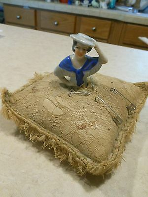 Antique Half-Doll Pillow Pin Cushion, Dressed In Blue Dress With Hat
