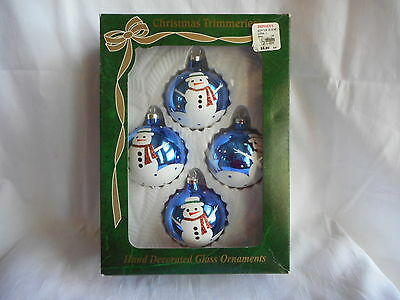 Vtg Christmas Ornament Mercury Glass Blue Round Snowman Hand Decorated