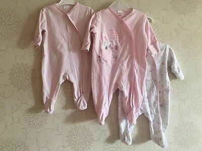 NEXT Matching 3 Pack Pink Bunny Motif All In One Rompers Babygrows 0-3 Months