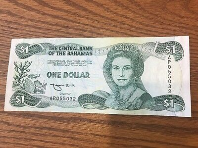 Bahamas One Dollar The Central Bank Of 1974 (1984)